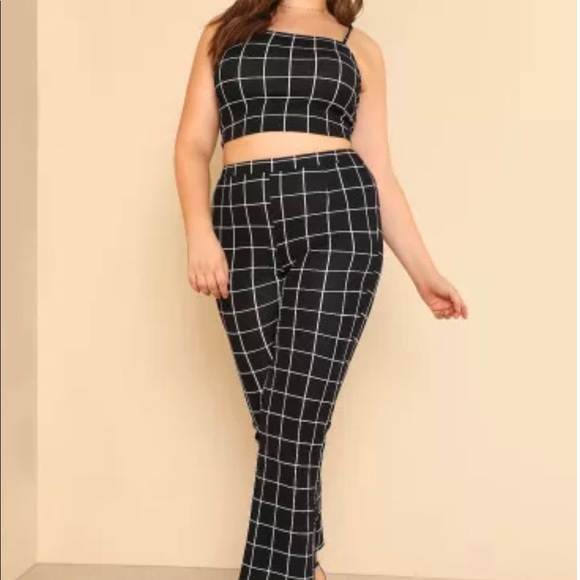 bfae70996b Plus Grid Crop Cami Top & Pants Set. M_5b9c46a6534ef9fcfb8e7d8e